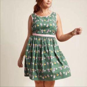 ModCloth Lemondate Pink and Green Dress